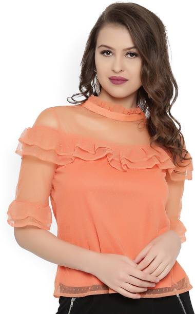 Rare Casual Half Sleeve Solid Womens Orange Top