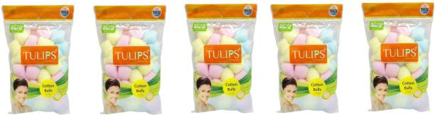 Tulips 50 Multi Color Cotton Balls in a Ziplock Bag (pack of 5)