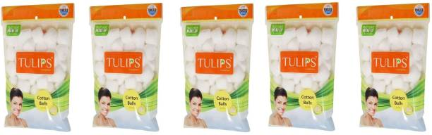 Tulips 50 White Cotton Balls in a Ziplock Bag (pack of 5)