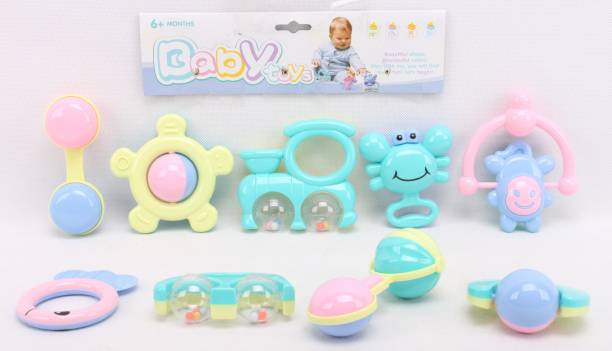 Toys Bhoomi Infant and Toddlers Bright and Colorful 9 Piece Musical Baby Rattle Gym & Crib Toys Playset - 100% SAFE & NON-TOXIC