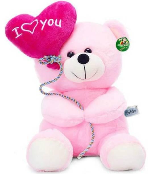 KIDZ Zone Soft Stuff Cute Teddy Bear With I Love You Heart Ballon Pink  - 18 cm