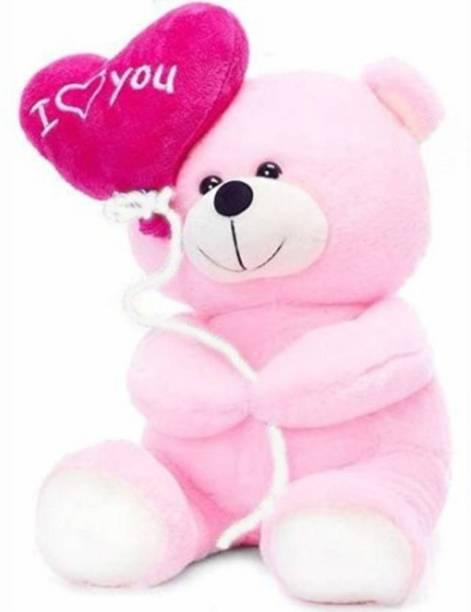 KIDZ Zone I Love You Ballon Heart Teddy Bear Pink  - 18 cm