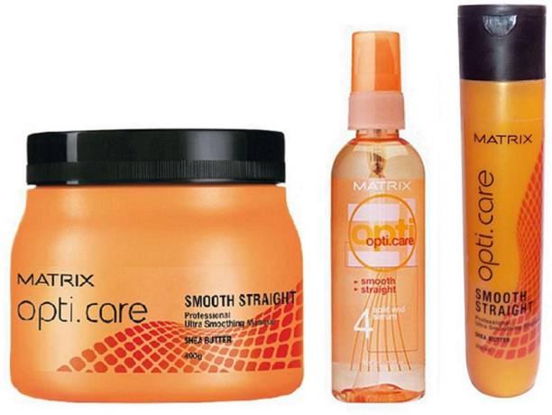 Matrix Opti Care Smooth Straight Complete Hair Solution (Hair Spa+ Serum+ Shampoo)