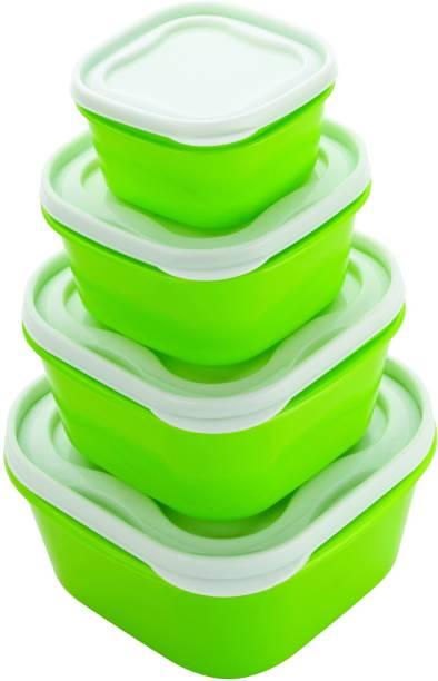 Super Classic Airtight Multiuse - 2400 ml, 1400 ml, 800 ml, 400 ml Plastic Multi-purpose Storage Container (Pack of 4, Green) Plastic Fruit & Vegetable Basket (Green) Plastic Fruit & Vegetable Basket