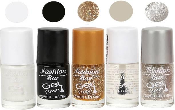 Fashion Bar Gel Finish Exclusive Nail Polish Combo Set Clear, White, Gold, Black, Grey