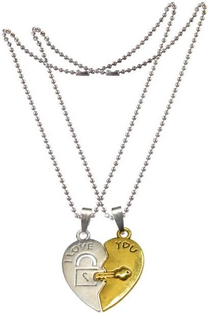 Men style pendants lockets buy men style pendants lockets online men style couples broken heart key lock engrave i love you zinc pendant set aloadofball Image collections