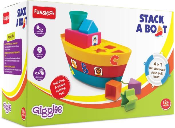 Funskool-Giggles STACKING BOAT, 4 in 1 Fun stack - sort, Push - Pull Boat