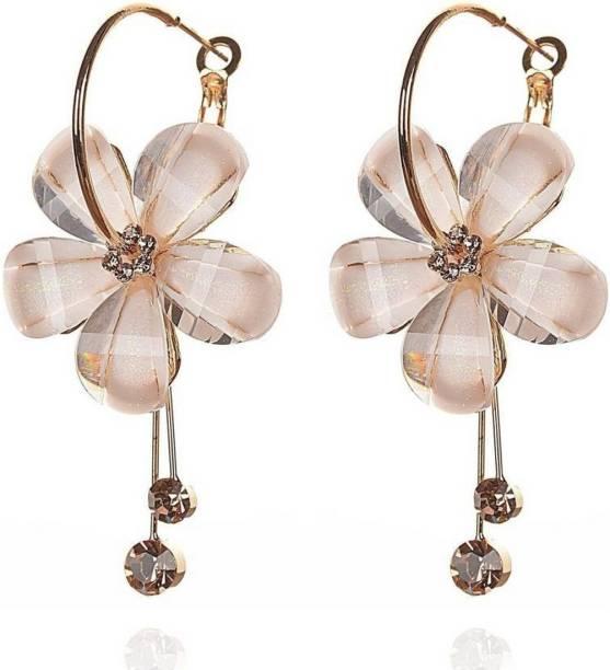 Jewels Galaxy Luxuria Sparkling Cubic Zirconia Alloy Hoop Earring