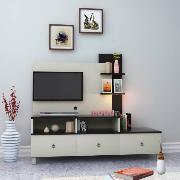 HomeTown Lauren Engineered Wood TV Entertainment Unit Finish Color   White