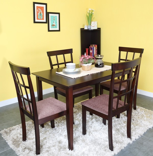 @home by Nilkamal Trivia Solid Wood 4 Seater Dining Set : 4 chairs dining table sets - pezcame.com