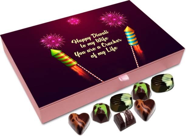 Chocholik Diwali Gift Box - Happy Diwali To My Wife You Are Cracker Of My Life Chocolate Box - 12pc Truffles