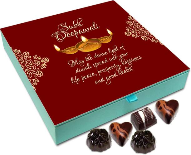 Chocholik Diwali Gift Box - May The Divine Light Of Deepawali Spread Peace And Success In Your Life Chocolate Box - 9pc Truffles