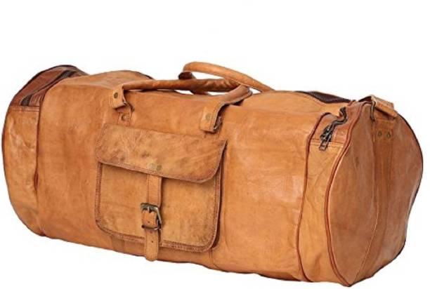 Anshika International 24 inch 61 cm 24 inch round leather duffle cum gym  bag Travel aca8817ea6