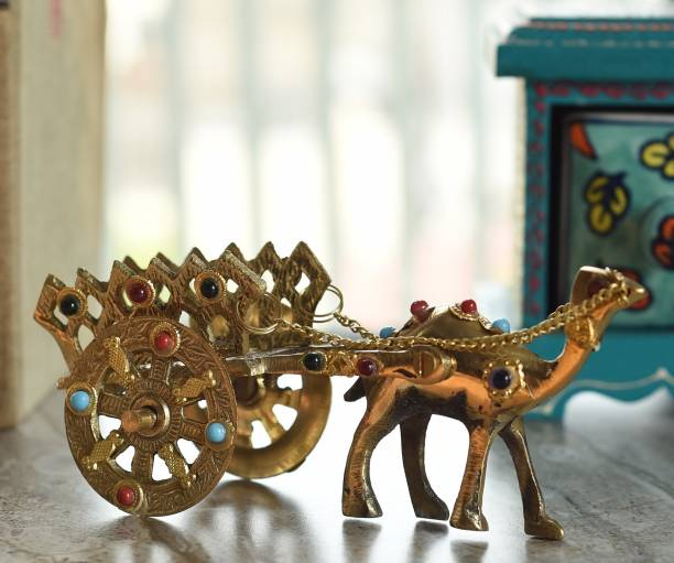 Flipkart SmartBuy Gemstone Studded Pure Brass Camel Cart Handicraft Decorative Showpiece  -  7 cm