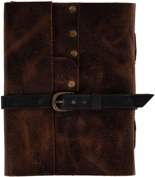 Craft Play Handmade Leather Notebook With Belt A5 Diary Unruled 144 Pages