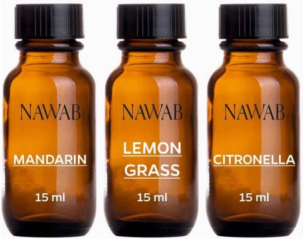NAWAB essential aroma Diffuser oil(Mandarin,Lemongrass,Citronella-15ml each) Aroma Oil