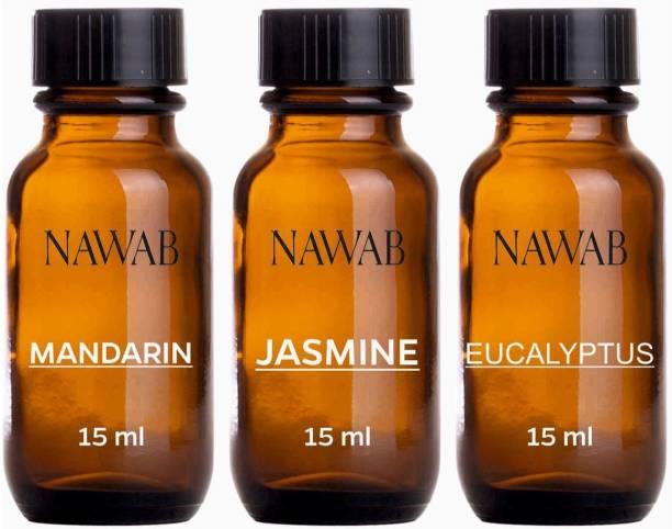 NAWAB essential aroma Diffuser oil(Mandarin,Eucalyptus,Jasmine-15ml each) Aroma Oil