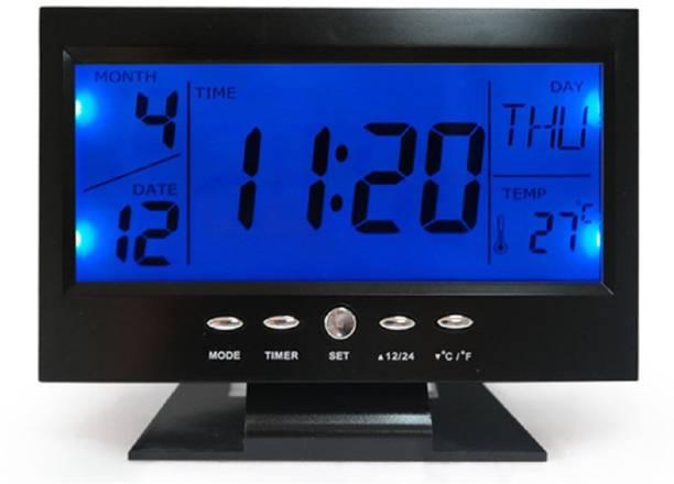 Tuelip Digital Voice Control Back Light Lcd Alarm Clock Black