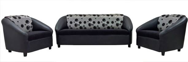 Furnizone Leatherette 3 + 1 + 1 Black Sofa Set