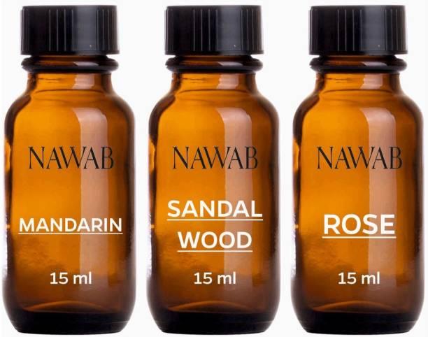 NAWAB essential aroma Diffuser oil(Mandarin,Sandalwood,Rose-15ml each) Aroma Oil