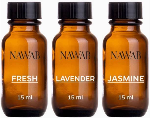 NAWAB essential aroma Diffuser oil(Fresh,Lavender,Jasmine-15ml each) Aroma Oil