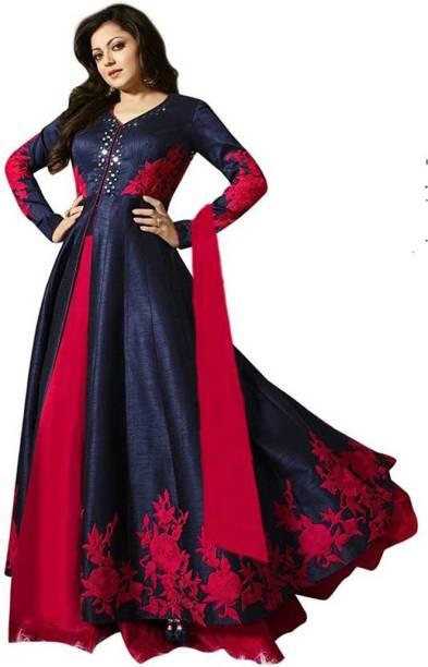 43a762b54be ap enterprise Silk Embroidered Semi-stitched Salwar Suit Dupatta Material