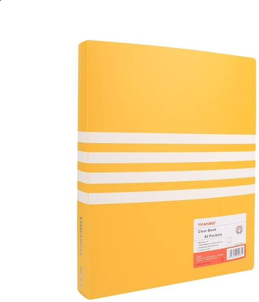 TRANBO Plastic 80 Pocket Display File (A4 Size, Yellow)