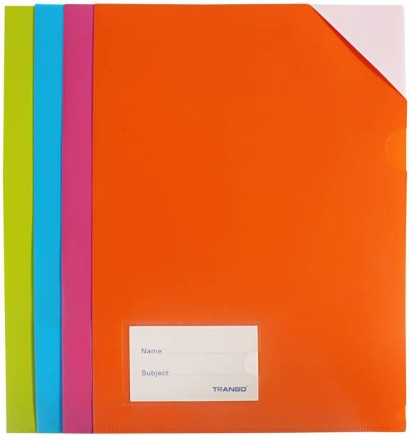 TRANBO Plastic L Shape A4 Document File Folders, Set of 4