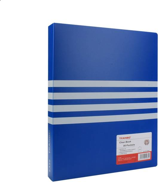 TRANBO Plastic 80 Pocket Display File (A4 Size, Blue)