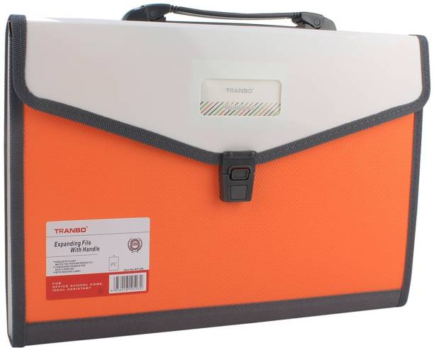 Tranbo Plastic File Folder With 13 Pockets Handle Index Tab Fc Size
