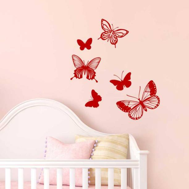 Nilaya by ASIAN PAINTS Large Wall Ons Red Intricate Butterflies Wall Sticker