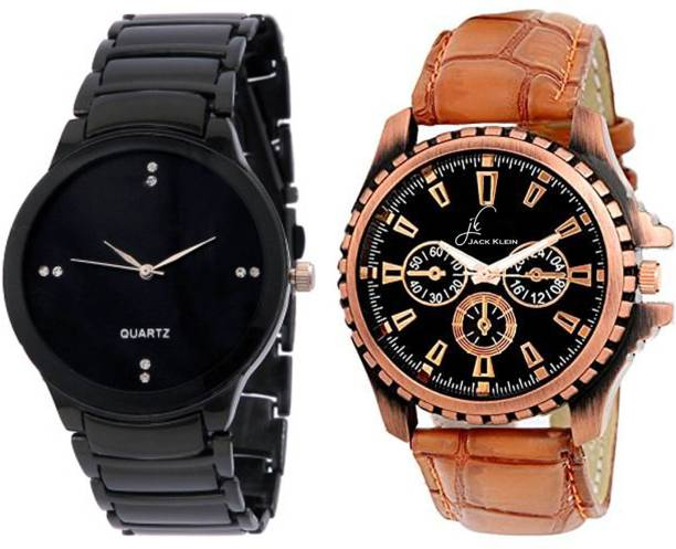 5d990178ee Jack Klein Combo of Stylish Black Dial Metal And Golden Dial Strap Watch -  For Men