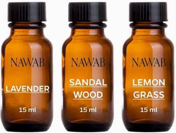 NAWAB essential aroma Diffuser oil(Sandalwood,Lavender,Lemongrass-15ml each) Aroma Oil