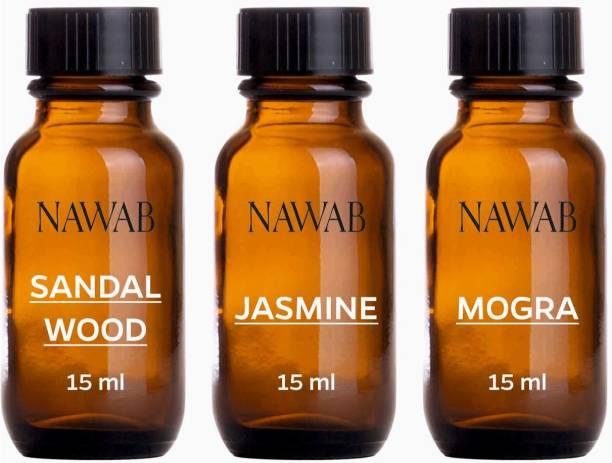 NAWAB essential aroma Diffuser oil(Jasmine,Sandalwood,Mogra-15ml each) Aroma Oil