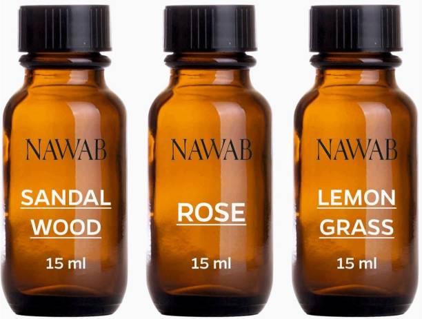 NAWAB essential aroma Diffuser oil(Sandalwood,Lemongrass,Rose-15ml each) Aroma Oil