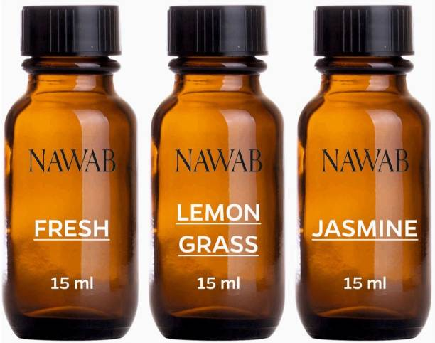 NAWAB essential aroma Diffuser oil(Fresh,Lemongrass,Jasmine-15ml each) Aroma Oil