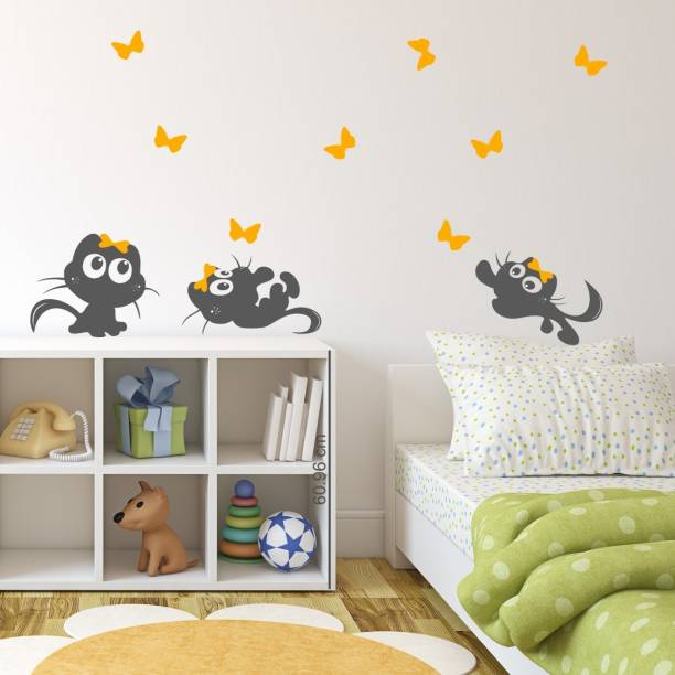 Nilaya by ASIAN PAINTS Large Wall Ons Cute Cats butterflies Kids Wall Sticker
