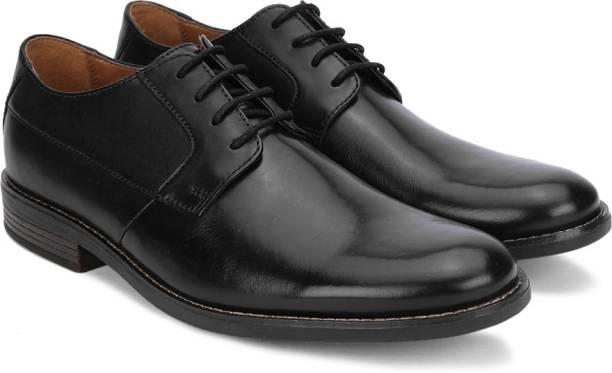CLARKS Becken Plain Black Leather Slip On For Men
