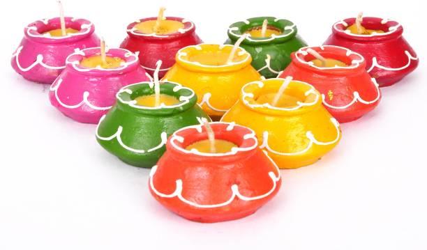 TIED RIBBONS Diwali Mutki Candles and Diya Terracotta (Pack of 10) Table Diya Set