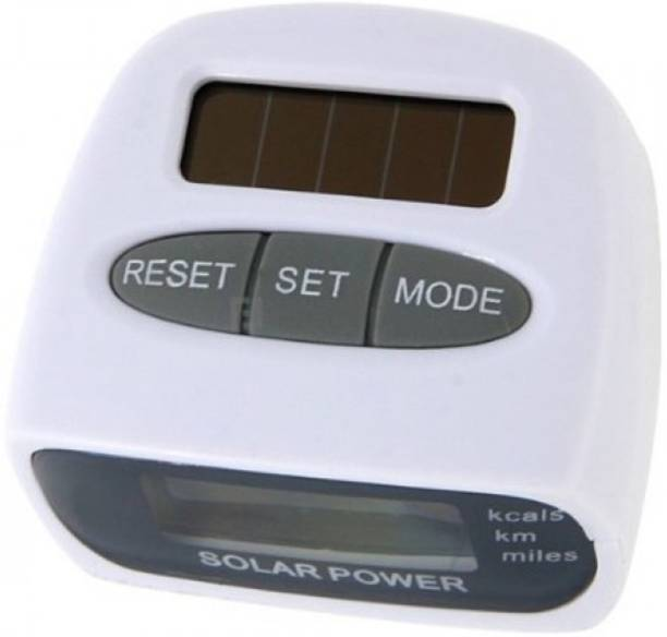Skywalk Solar Power Calorie Consumption Run Step Pedometer Distance Counter with LCD Screen-White Distance Counter