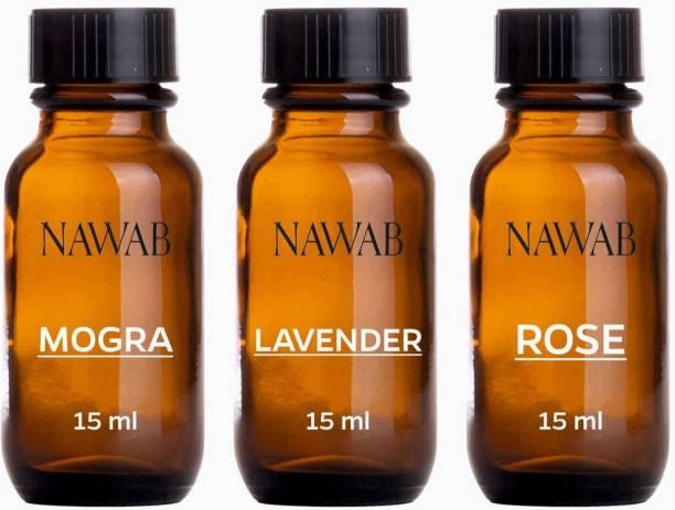 NAWAB essential aroma Diffuser oil(Rose,Mogra,Lavender-15ml each) Aroma Oil