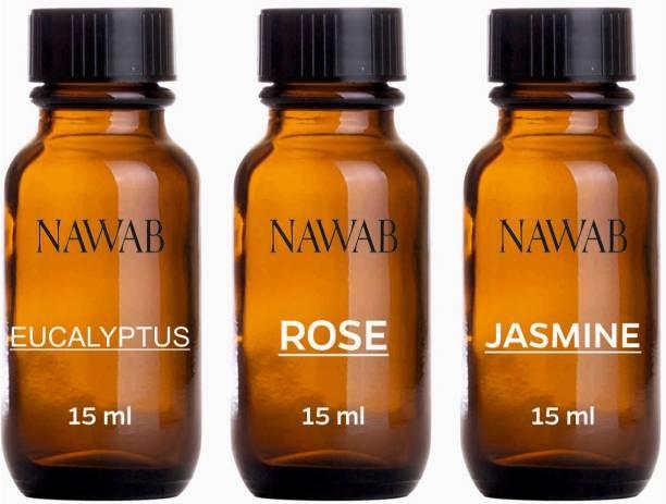 NAWAB essential aroma Diffuser oil(Rose,Jasmine,Eucalyptus-15ml each) Aroma Oil