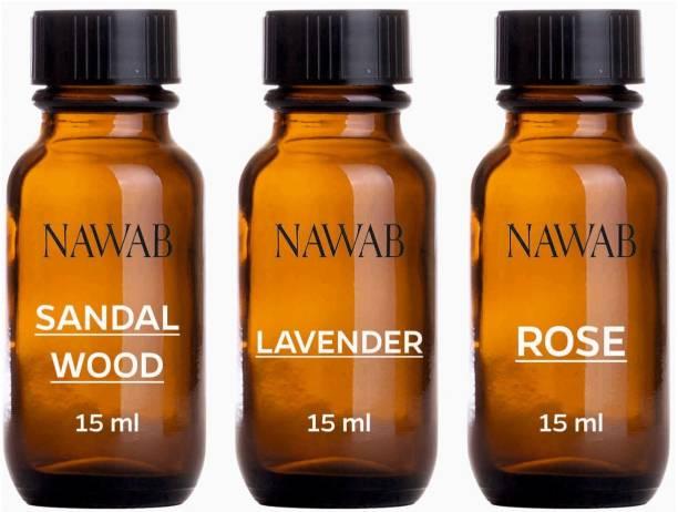 NAWAB essential aroma Diffuser oil(Sandalwood,Lavender,Rose-15ml each) Aroma Oil