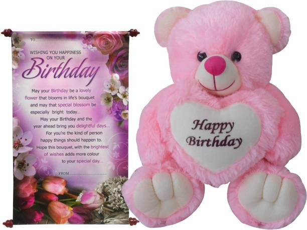 dbf0c3a44847 Saugat Traders Birthday Gift Combo - Happy Birthday Teddy With Scroll Card