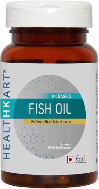 HEALTHKART Fish oil (1000 Omega 3 , with 180 mg EPA & 120 mg DHA) for brain, heart and eye health, 60 soft gels