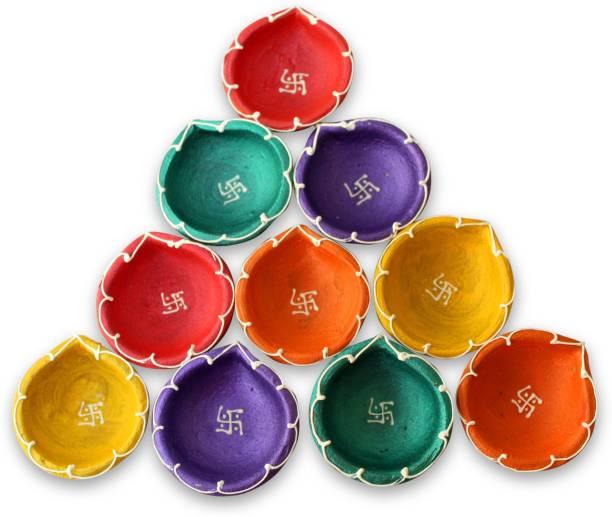 TIED RIBBONS Diwali Mutki candles set of 10 Terracotta (Pack of 10) Table Diya Set