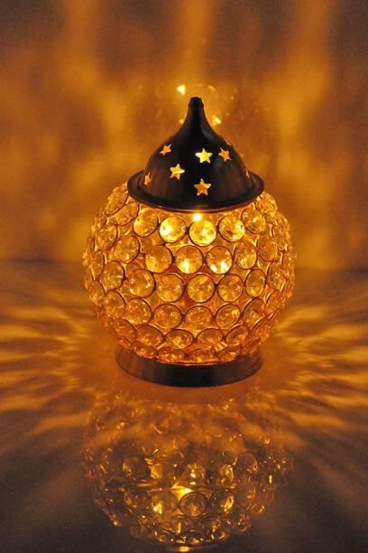 Collectible India Crystal Akhand Diya Glass Oil Lamp deepak Brass Table Diya