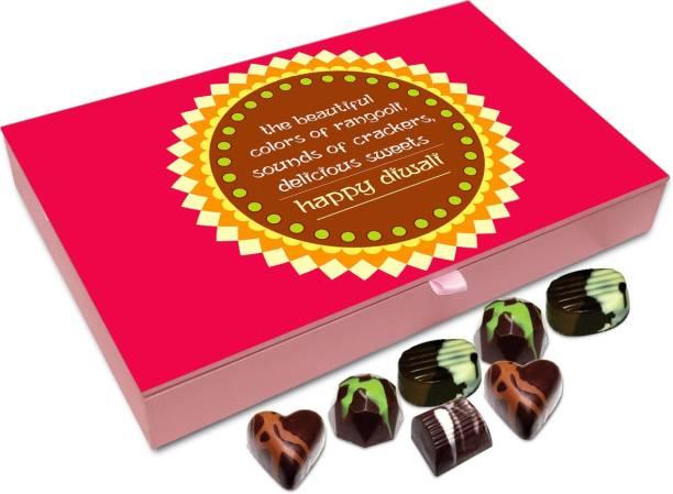 Chocholik Diwali Gift - Light Fire Crackers And Enjoy Diwali To The Fullest Happy Diwali Chocolate Box - 12pc Truffles
