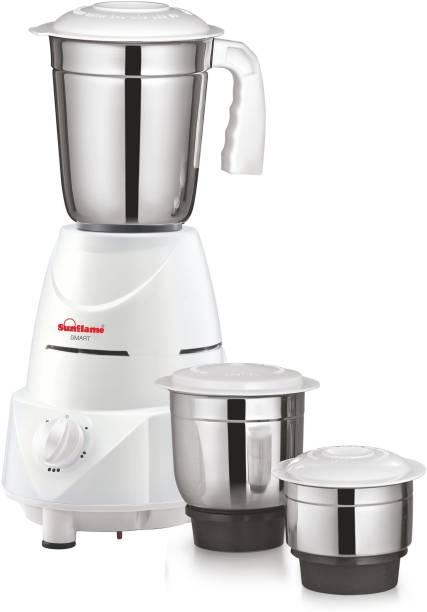 SUNFLAME Smart 500 W Mixer Grinder (3 Jars, White)