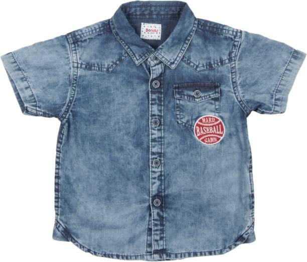 DONUTS Baby Boys Printed Casual Blue Shirt